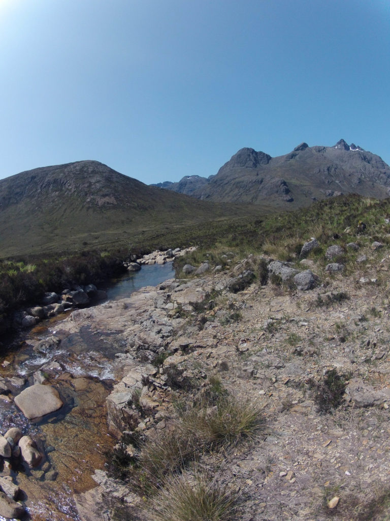 Blick auf die Cuillin Hills, Etappe 5 am Skye Trail